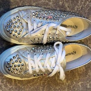 Superga Silver studded sneakers in 37